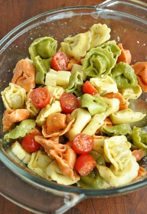 tortellini pasta salad-peas and crayons