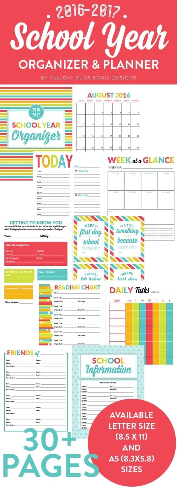 school year organizer  u0026 planner printable pack