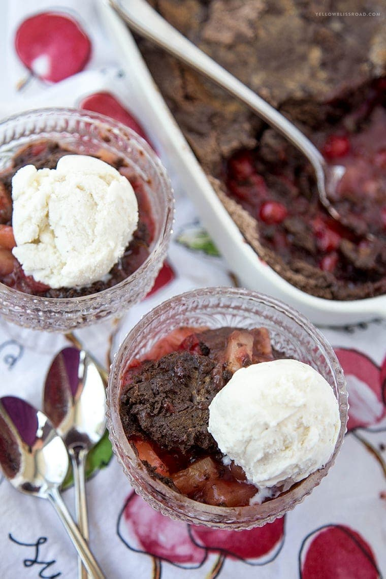 Chocolate Cherry Dump Cake with Pineapple - the easiest cobbler-like dessert you'll ever make!