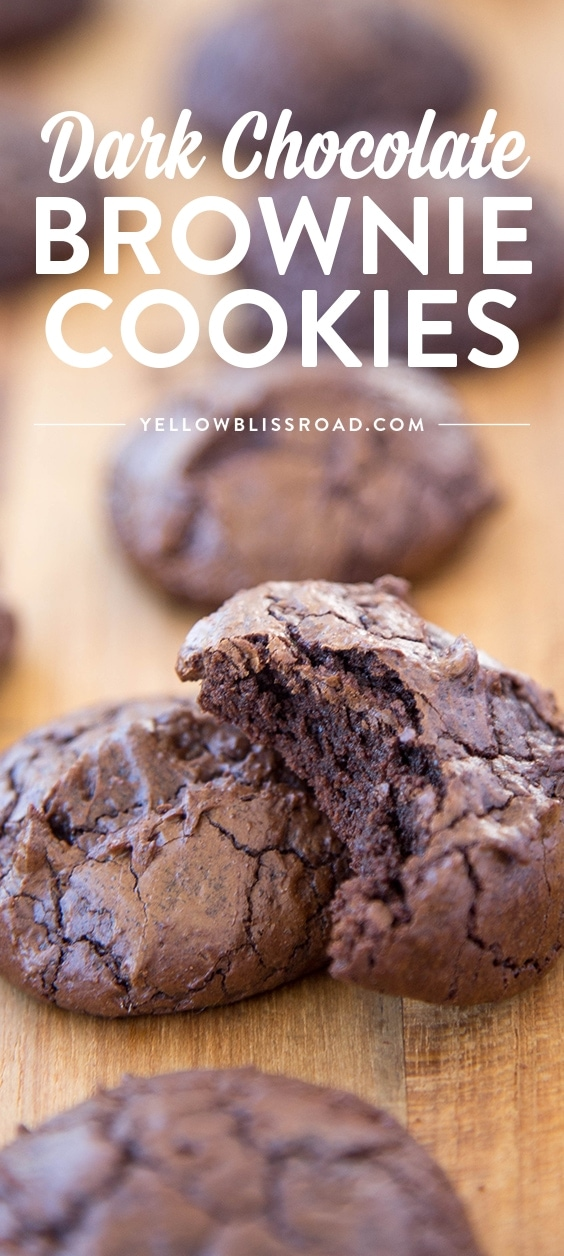 Dark Chocolate Brownie Cookies - super decadant fudgy cookies that are tender and chewy just like a brownie!