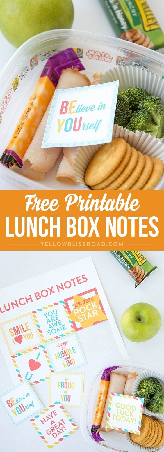 Free Printable Lunch Box Notes - Send a little surprise love to your kids in their school lunches!