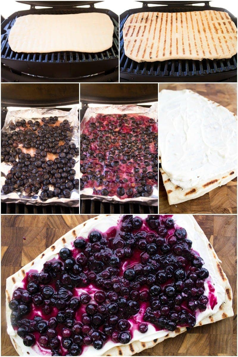 Grilled Blueberry Dessert Pizza is a perfect dessert for your next cookout! Prep your ingredients ahead of time and bring everything together in just 10 minutes!