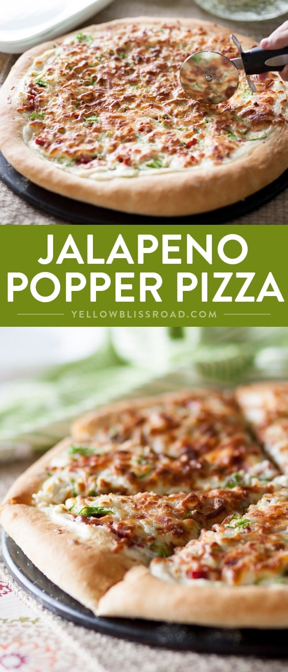 Jalapeno Popper Pizza - Spicy, Cheesy, Creamy and oh so delicious! Perfect as an appetizer or an easy dinner.