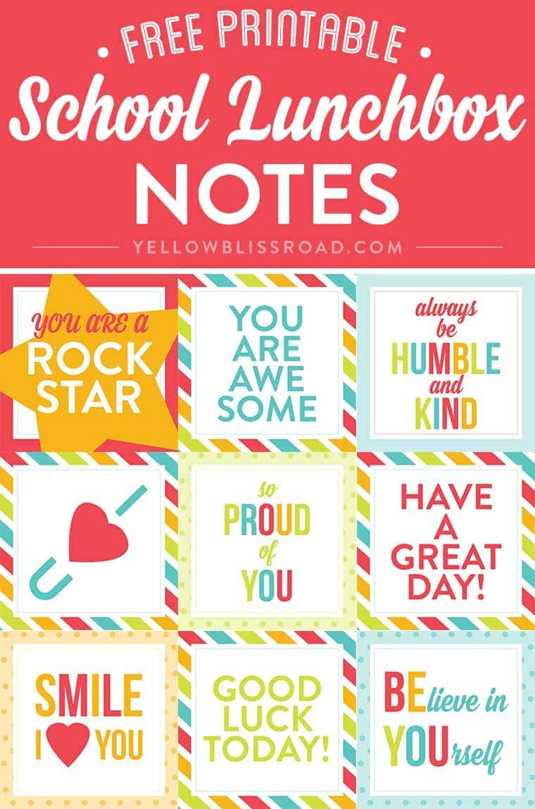free printable lunch box notes yellow bliss road