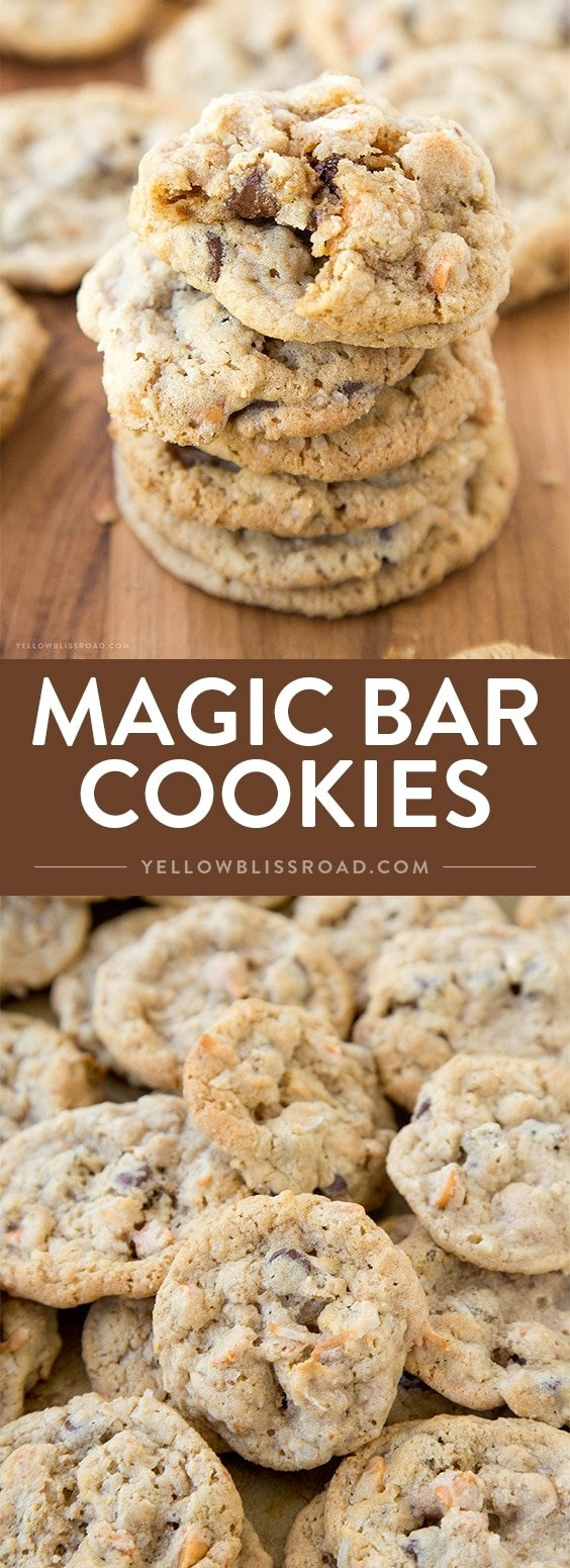 Magic Bar Cookies - Just like the 7 layer magic bars, with coconut, sweetened condensed milk and chocolate chips, but in a neat little cookie!