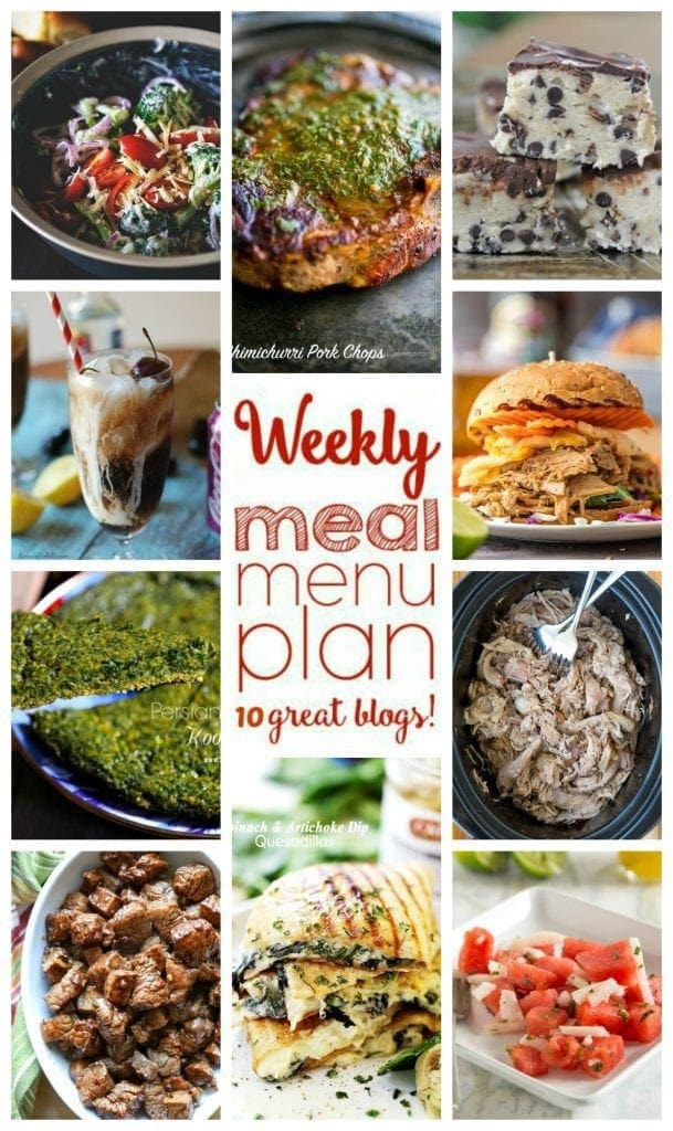 Weekly Meal Plan from 10 great bloggers - recipes for dinner, side dishes, drinks and desserts!