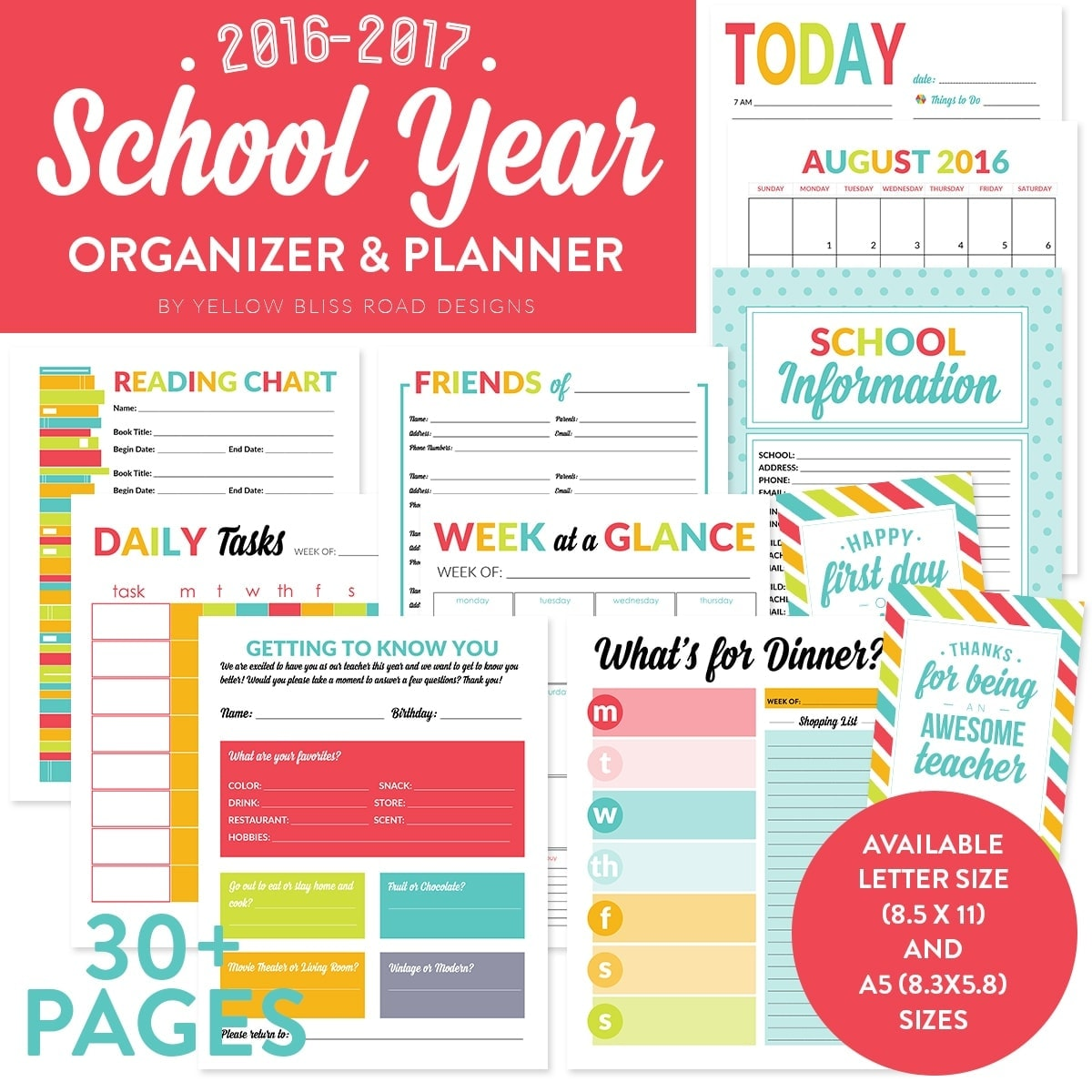 School Year Planner from Yellow Bliss Road Designs