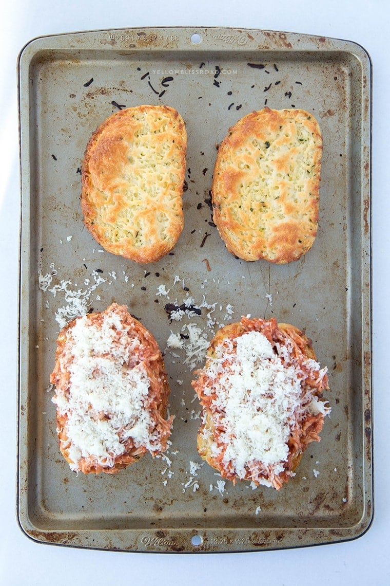 Shredded Chicken Parmesan Sandwich - Toasted cheesy bread with chicken and Parmesan cheese