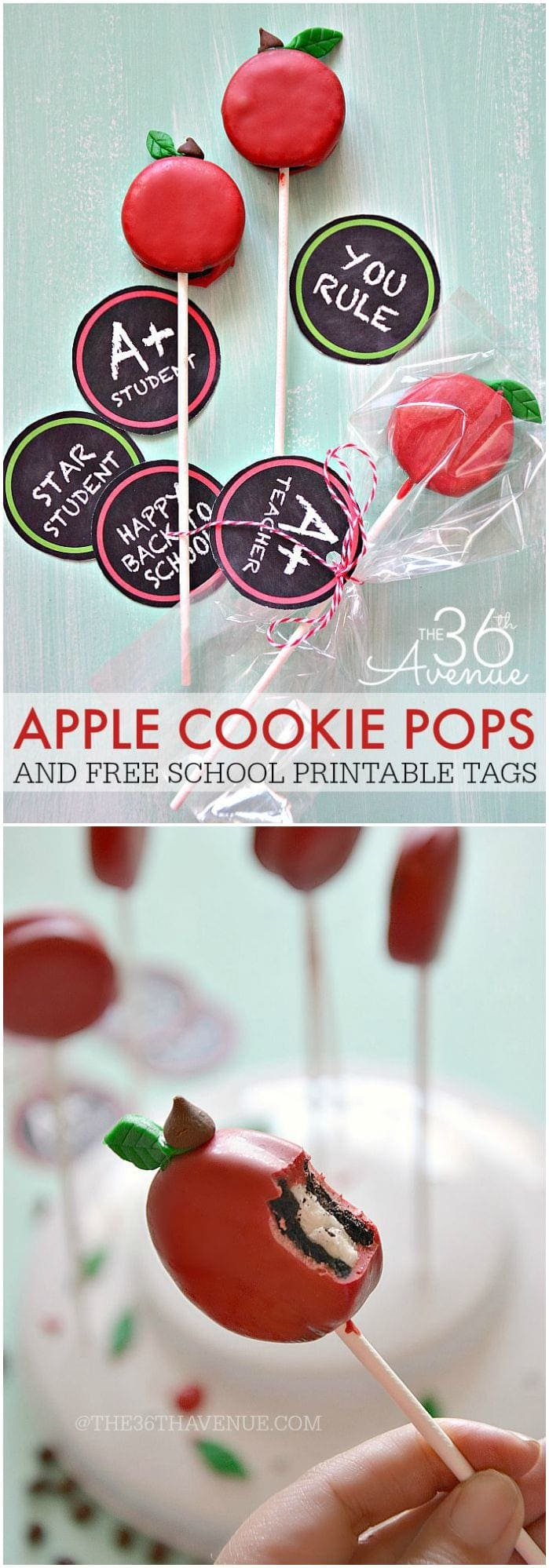 apple cookie pops with printable