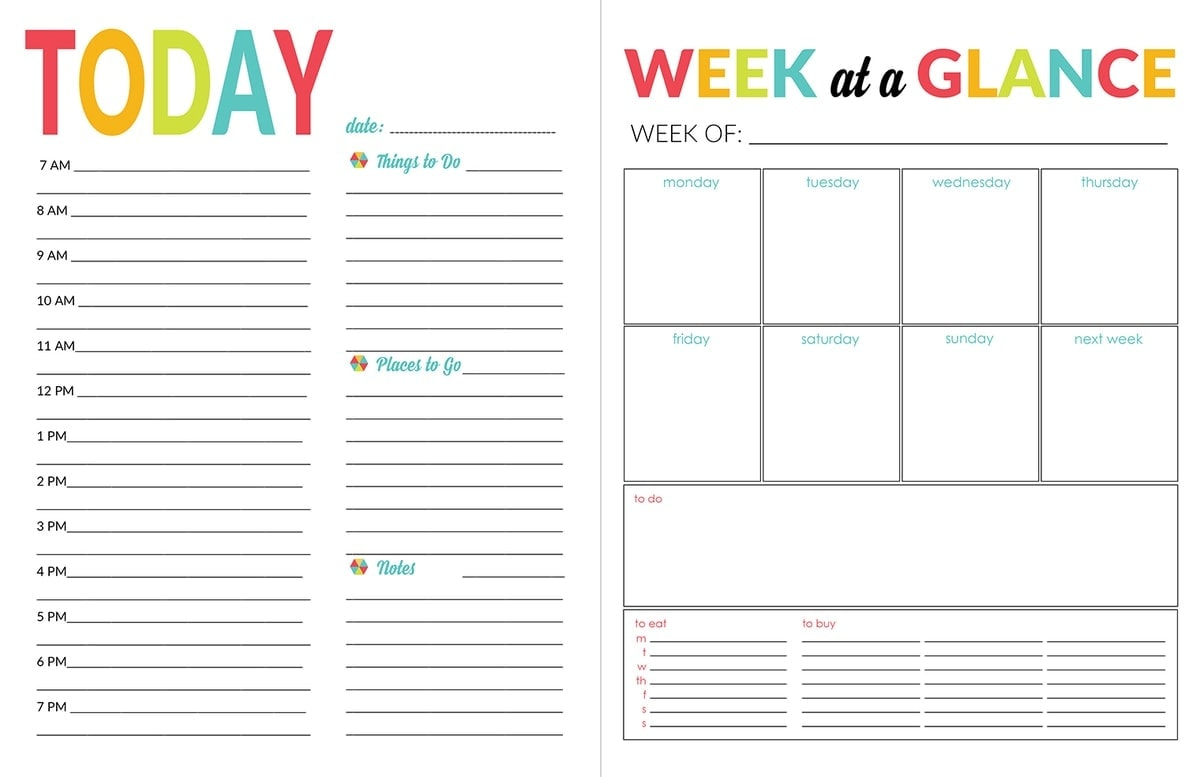 It is an image of Bright Weekly Organizer Printable