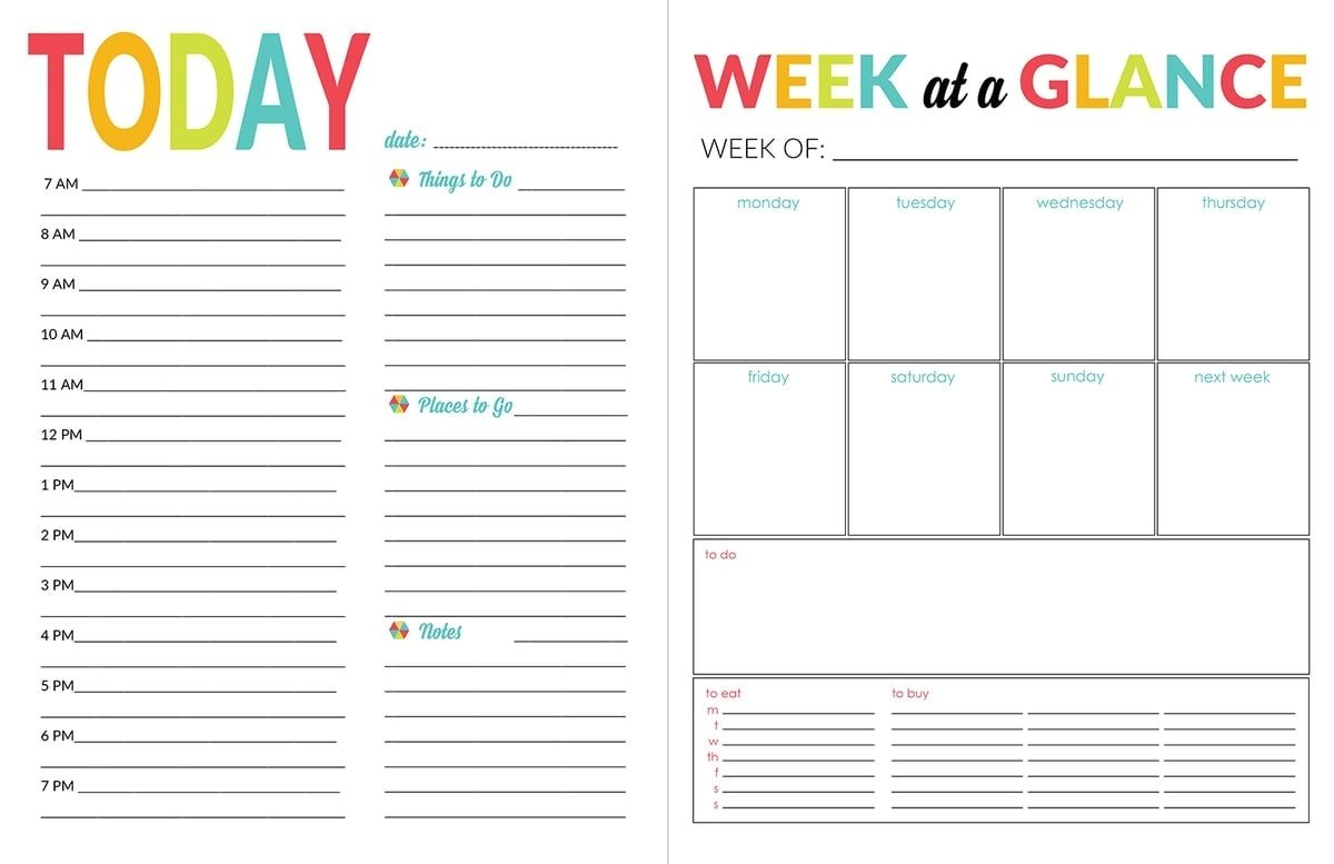 Weekly ...  Daily Organizer Template