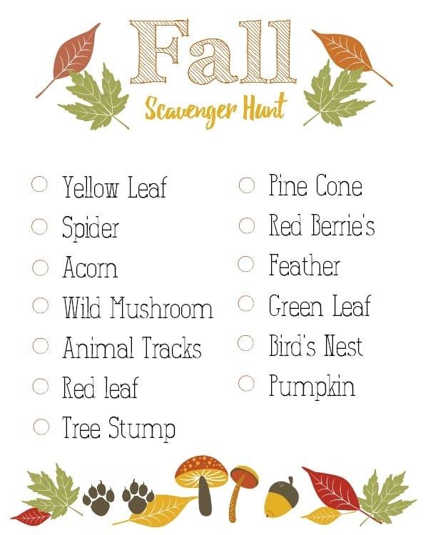 Fall Scavenger Hunt Printable