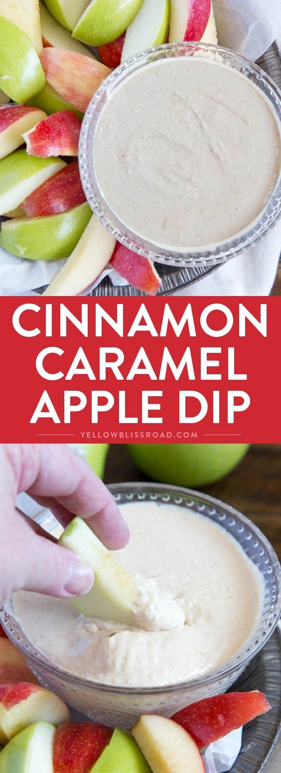 Lightened Up Cinnamon Caramel Apple Dip - Delicious and sweet and lighter than traditional caramel dips, this crowd pleasing dip is a kid friendly dessert or snack.
