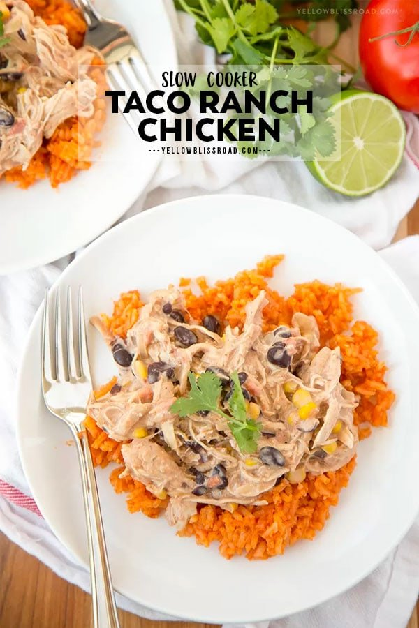 Slow Cooker Taco Ranch Chicken pinterest friendly image