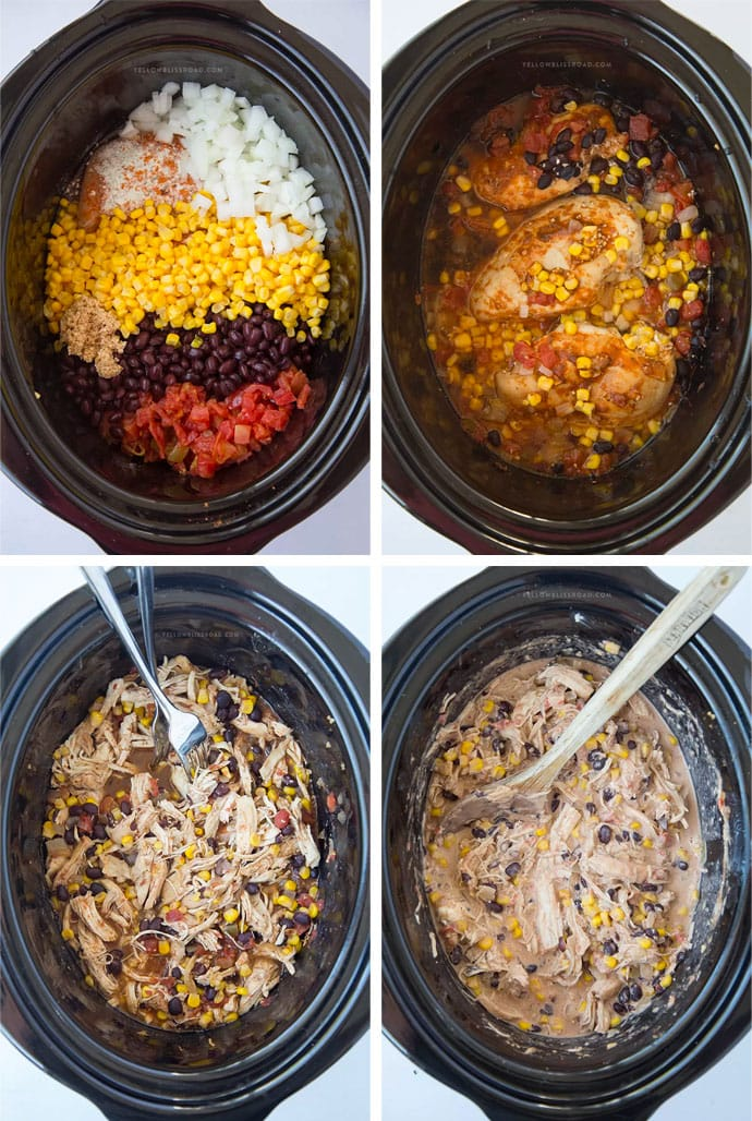 A collage of images of chicken, beans, corn and tomatoes in a slow cooker