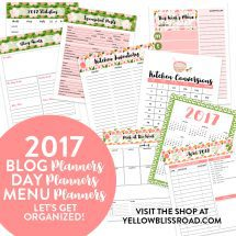 ALL NEW!! 2017 Blog, Day and Menu Planners