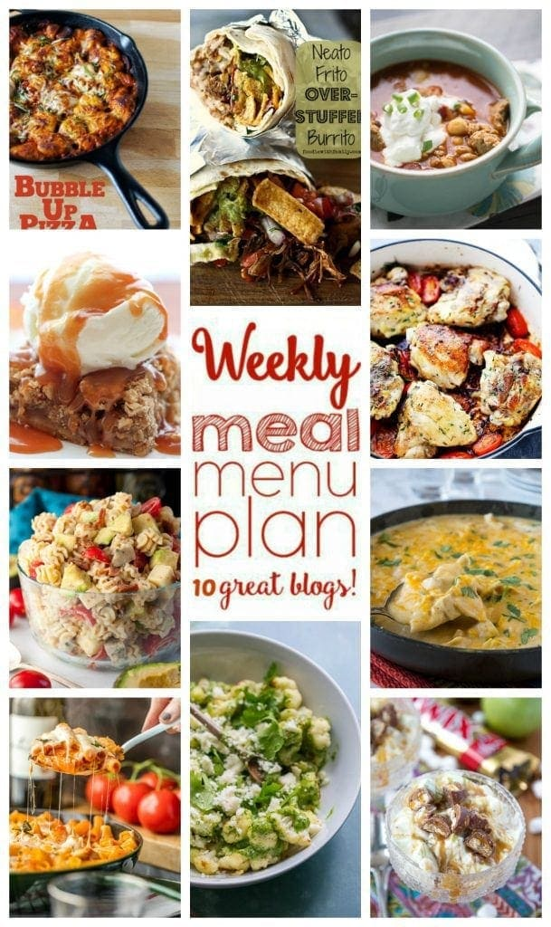 Weekly Meal Plan Week 34 – 10 great bloggers bringing you a full week of recipes including dinner, sides dishes, and desserts!