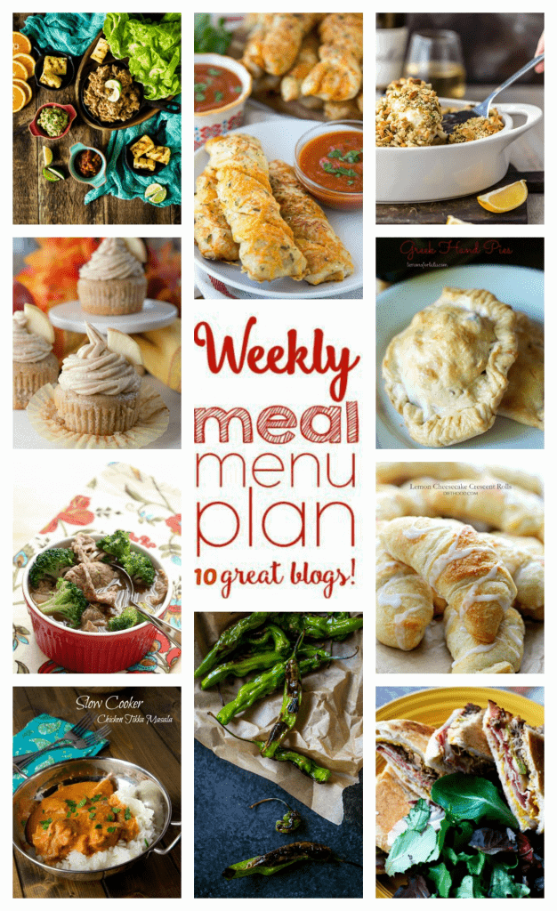 Weekly Meal Plan Week 35– 10 great bloggers bringing you a full week of recipes including dinner, sides dishes, and desserts!