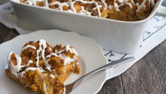 Nothing says fall like a big piece of Pumpkin Bread Pudding drizzled with cream cheese glaze!