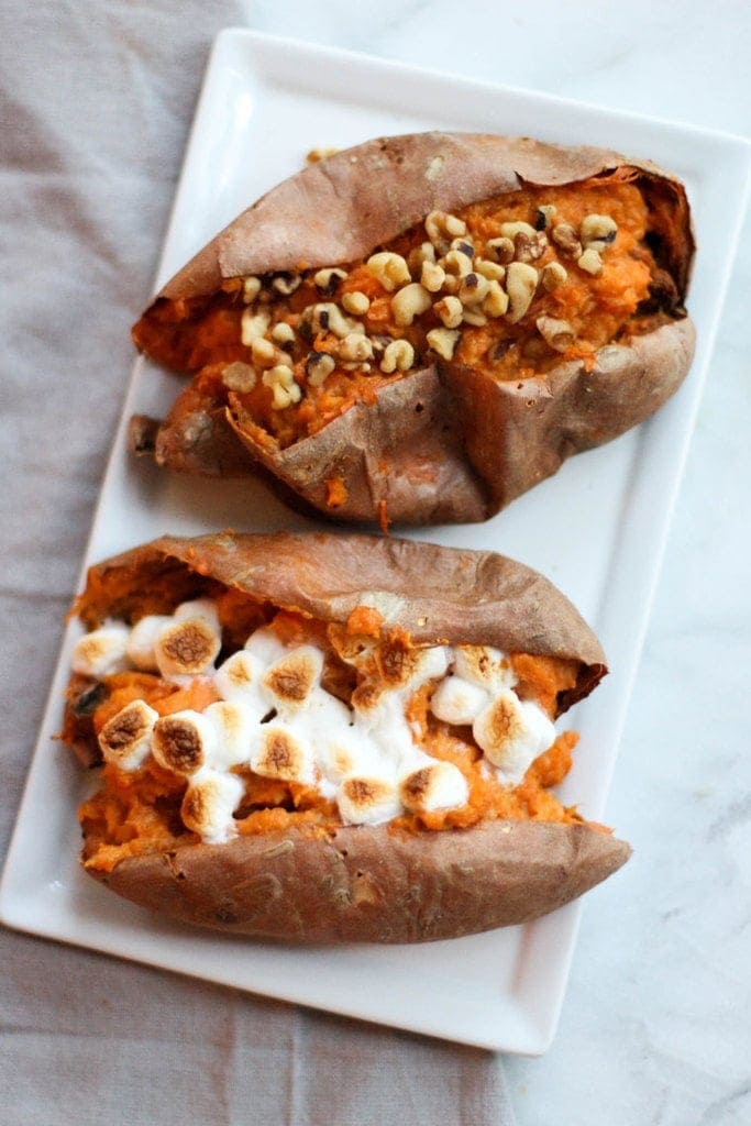 These Twice Baked Sweet Potatoes are full of fall flavors and make for a great side dish for Thanksgiving or any time this fall!