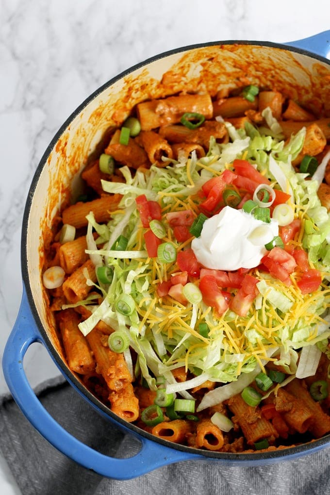 Creamy Taco Pasta - Part of 36 meals to make your weeknight dinners quick and easy!