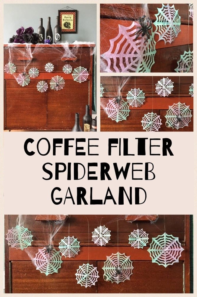 Coffee Filter Spiderweb Garland - a fun DIY Halloween craft!
