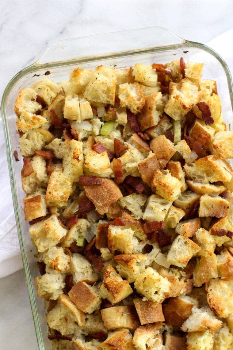 This Bacon Onion Stuffing is a flavorful and savory take on the classic!