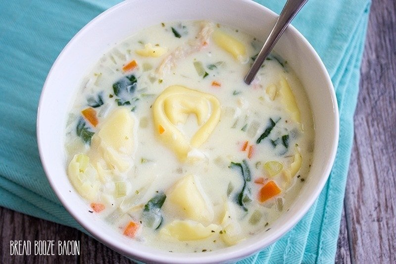 A big bowl of Creamy Chicken Tortellini Soup is the best way to warm up on a cold day!