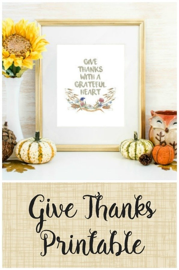 Give Thanks with a Grateful Heart Free Printable!