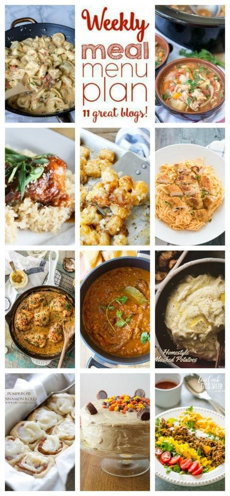Weekly Meal Plan Week 40 – 11 great bloggers bringing you a full week of recipes including dinner, sides dishes, and desserts!