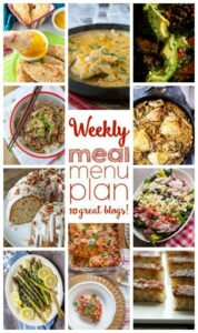Weekly Meal Plan Week 38 – 10 great bloggers bringing you a full week of recipes including dinner, sides dishes, and desserts!