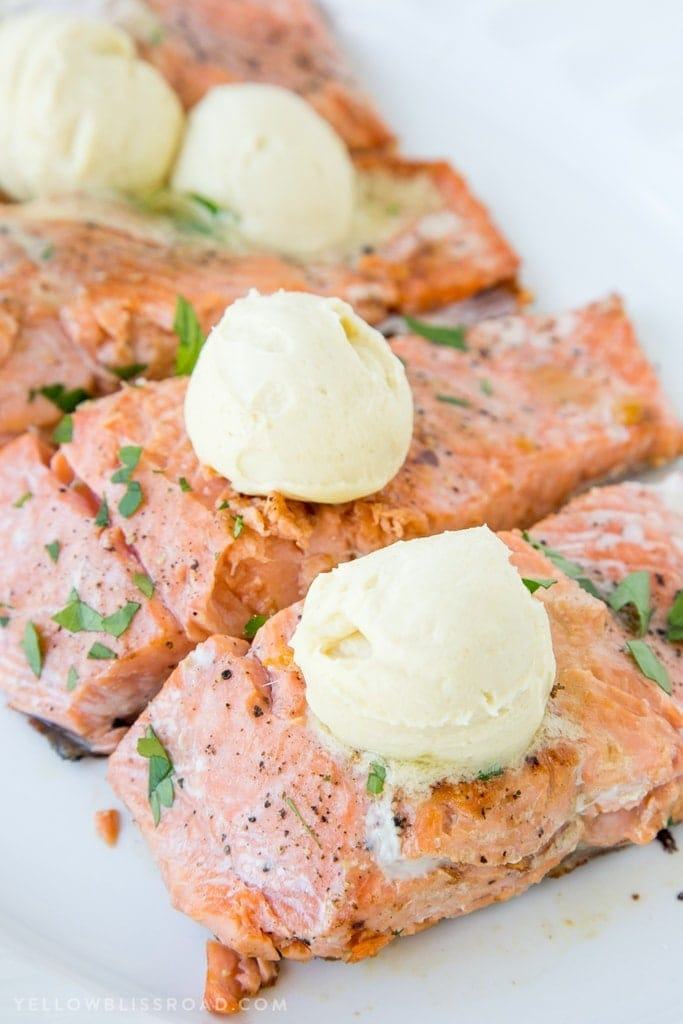 Pan Seared Salmon with Honey Dijon Butter {Yellow Bliss Road}