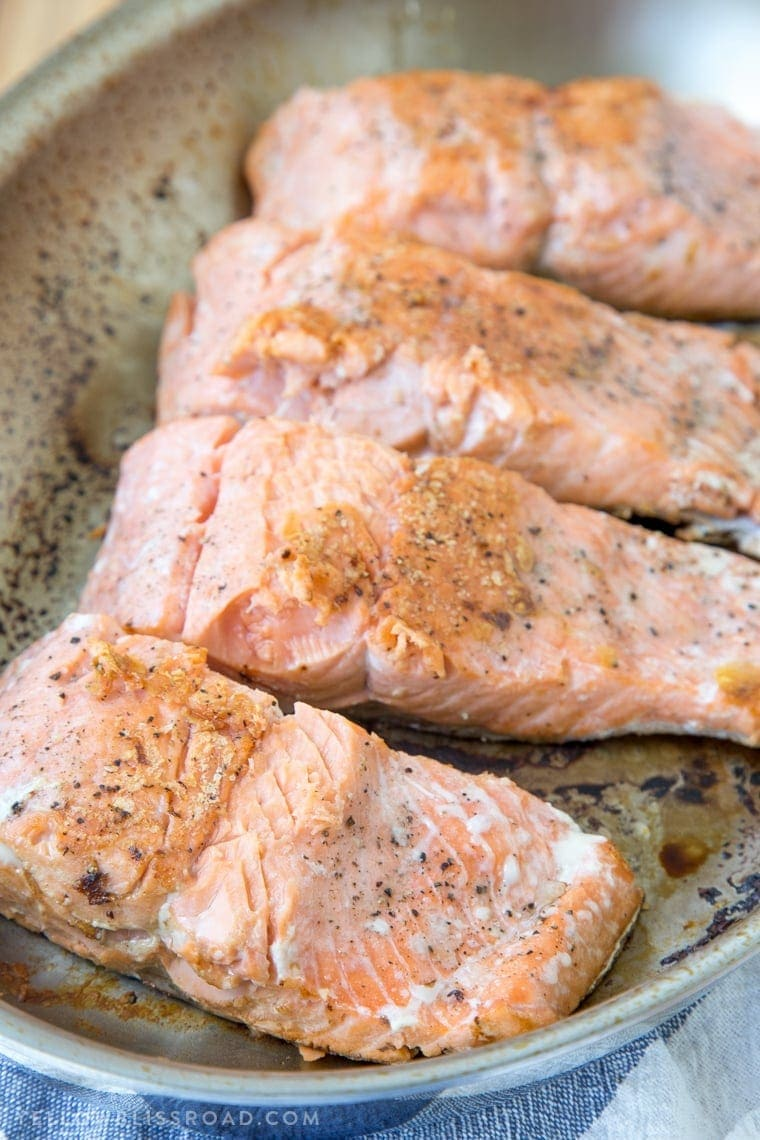 Pan Seared Salmon with Honey Dijon Butter - Simple, easy weeknight dinner recipe