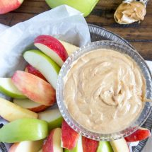 Creamy Peanut Butter Fruit Dip - Delicious, protein packed dessert dip that goes great with fresh fruit, pretzels, crackers and more. Kid friendly after school snack too.