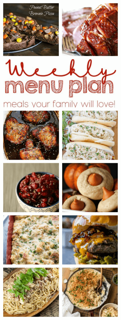 Weekly Meal Plan Week 39 – 10 great bloggers bringing you a full week of recipes including dinner, sides dishes, and desserts!