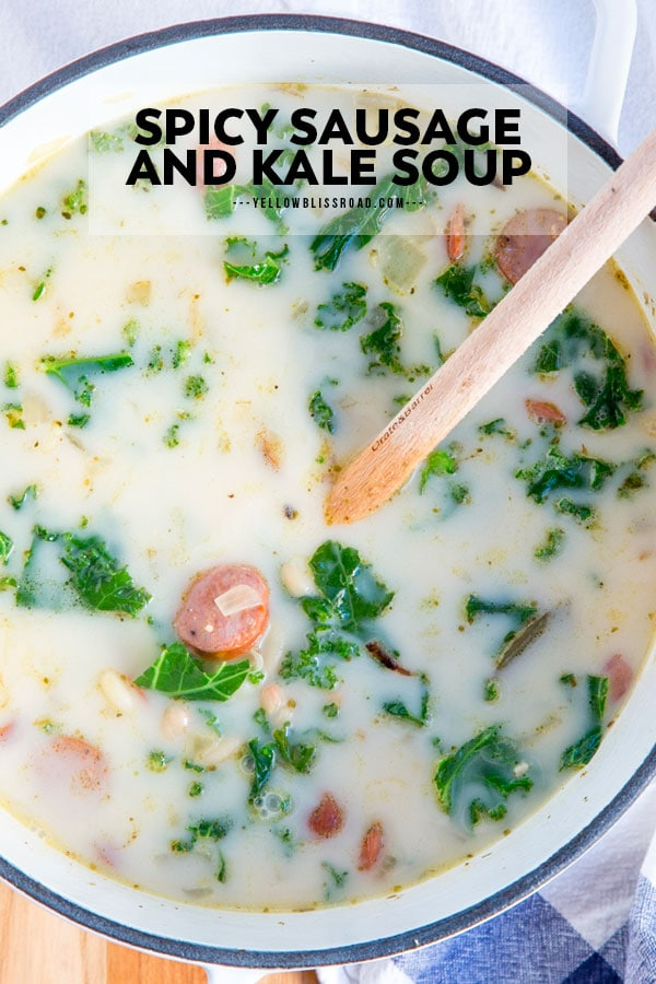 Sausage and Kale Soup pinterest friendly image with text