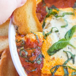 A close up of goat cheese dip