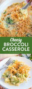 This Cheesy Broccoli Casserole has tender broccoli smothered in a rich and creamy cheddar cheesy sauce and topped with crushed butter crackers. Collage