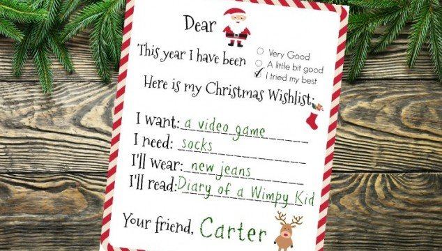 Dear Santa, Printable Wishlist