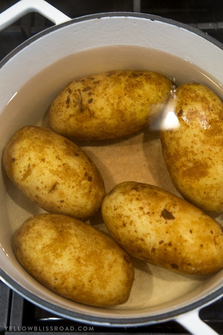 Potatoes boiling in a pot