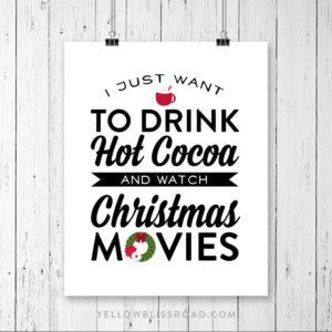 Free Christmas Printable: Hot Cocoa & Christmas Movies