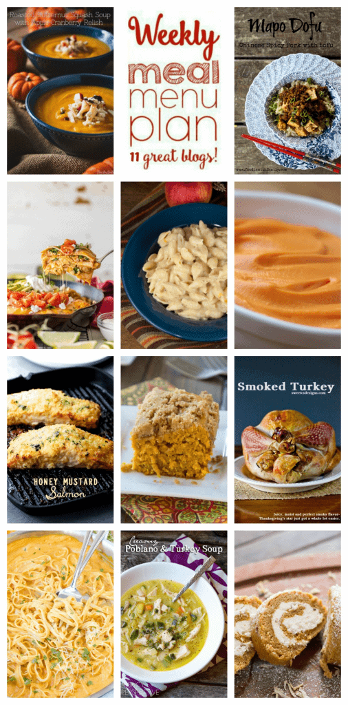 Weekly Meal Plan Week 42 – 11 great bloggers bringing you a full week of recipes including dinner, sides dishes, and desserts!