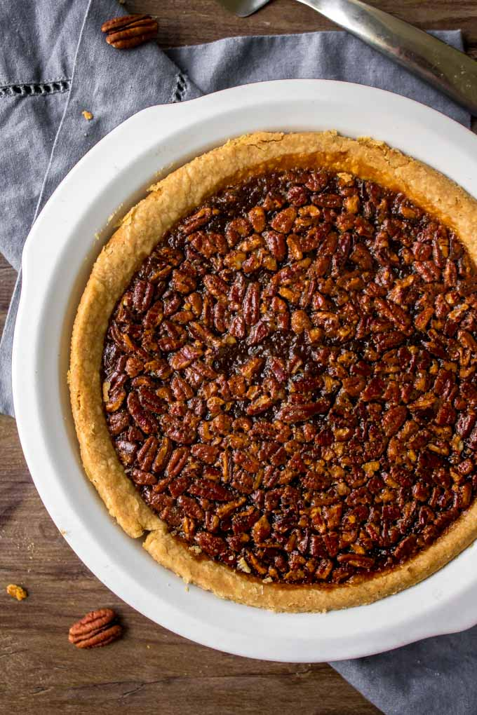 Pecan Pie recipe in a white pie plate.
