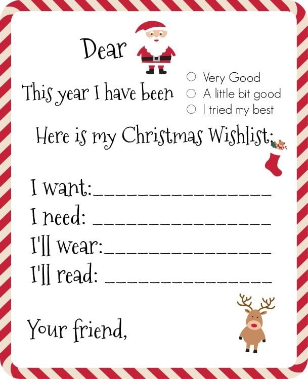 Dear Santa, Printable Wishlist