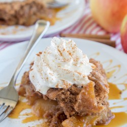 A plate of Apple Cake and ice cream