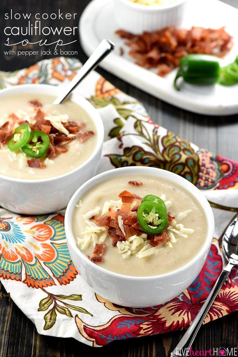 Pepper Jack & Bacon ~ this creamy, silky, crock pot soup balances healthy, vitamin-packed cauliflower with zesty cheese and decadent bacon! | FiveHeartHome.com