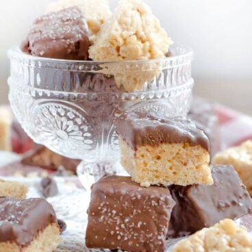 Close up of chocolate dipped rice krispie treats