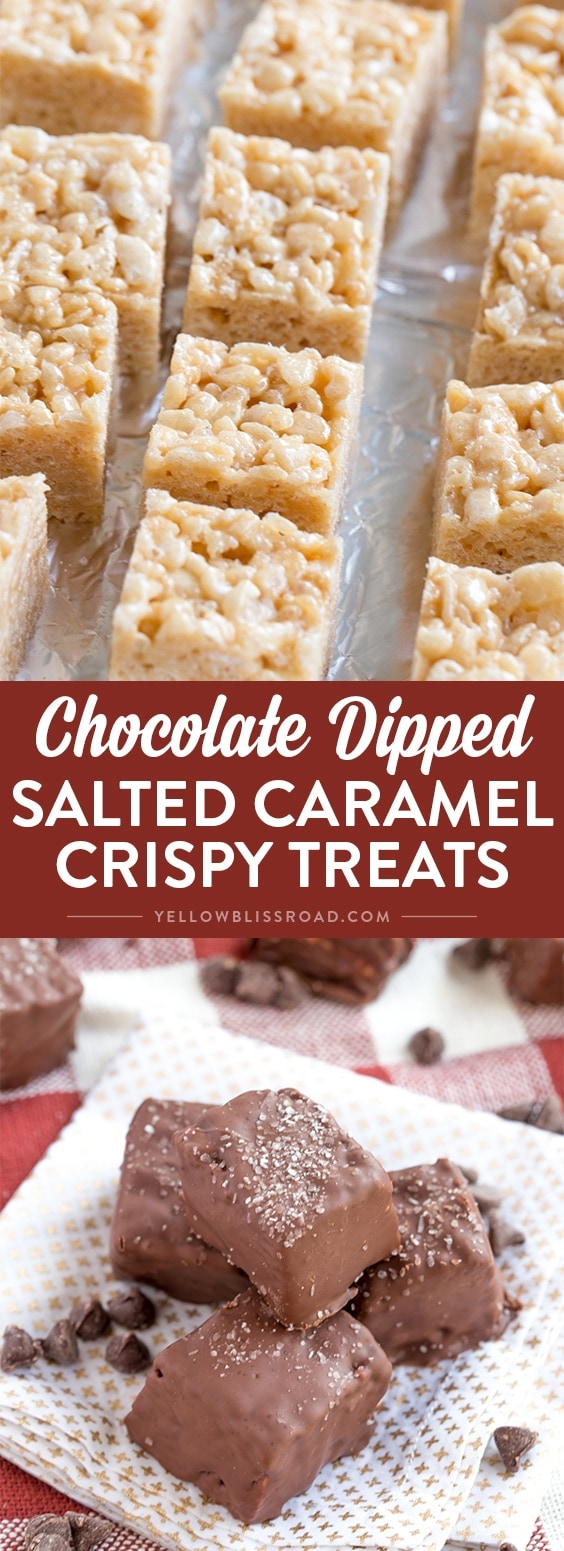 Crispy Marshmallow Treats with salted caramel and rich dark chocolate. Perfect for gift giving this Christmas!
