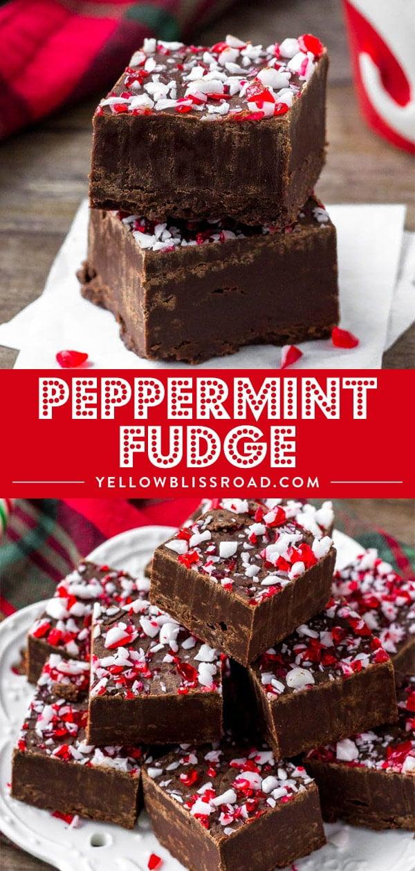 Social media image of peppermint fudge