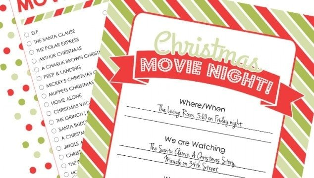 how to plan a christmas movie night with free printables - Free Printables For Christmas
